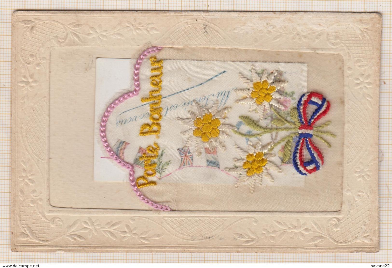9AL1235 Carte Brodée PORTE BONHEUR 2 SCANS - Cartes Postales