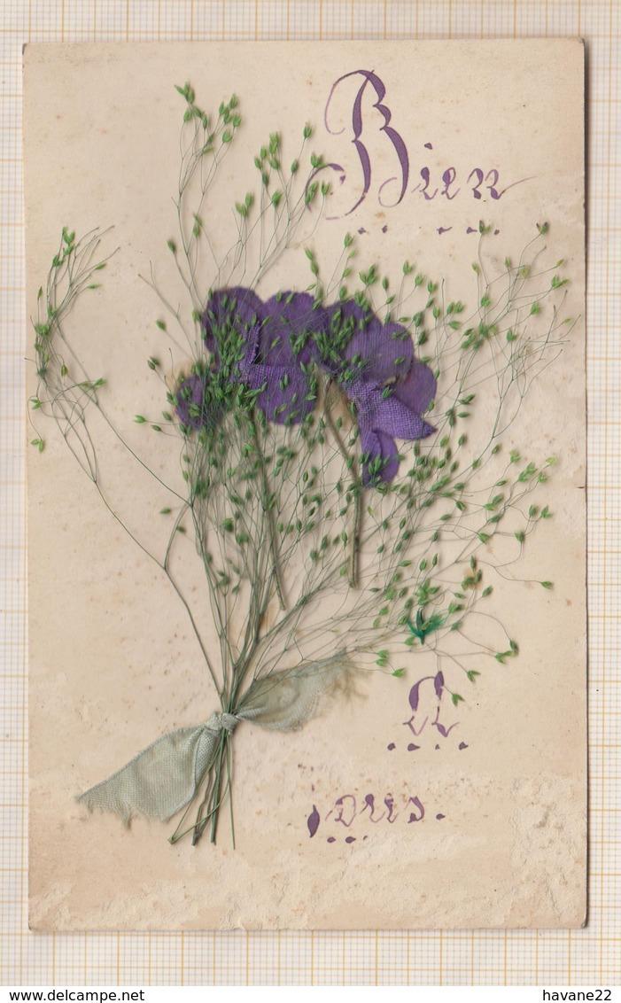 9AL1237 Carte Avec Fleurs Collées  2 SCANS - Autres