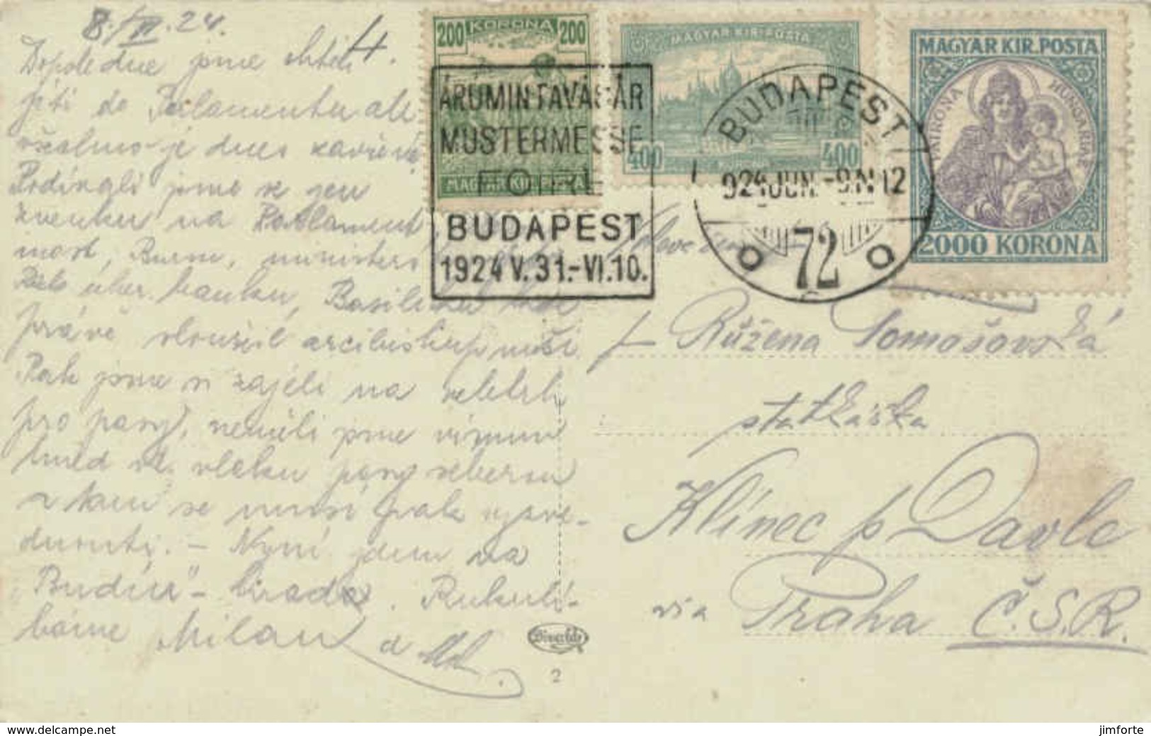 2000K Madonna And Child With 400K Parliament Building And 200K Harvesting Wheat 1924 Budapest, 72 Arumintavasar Mu... - Hungary