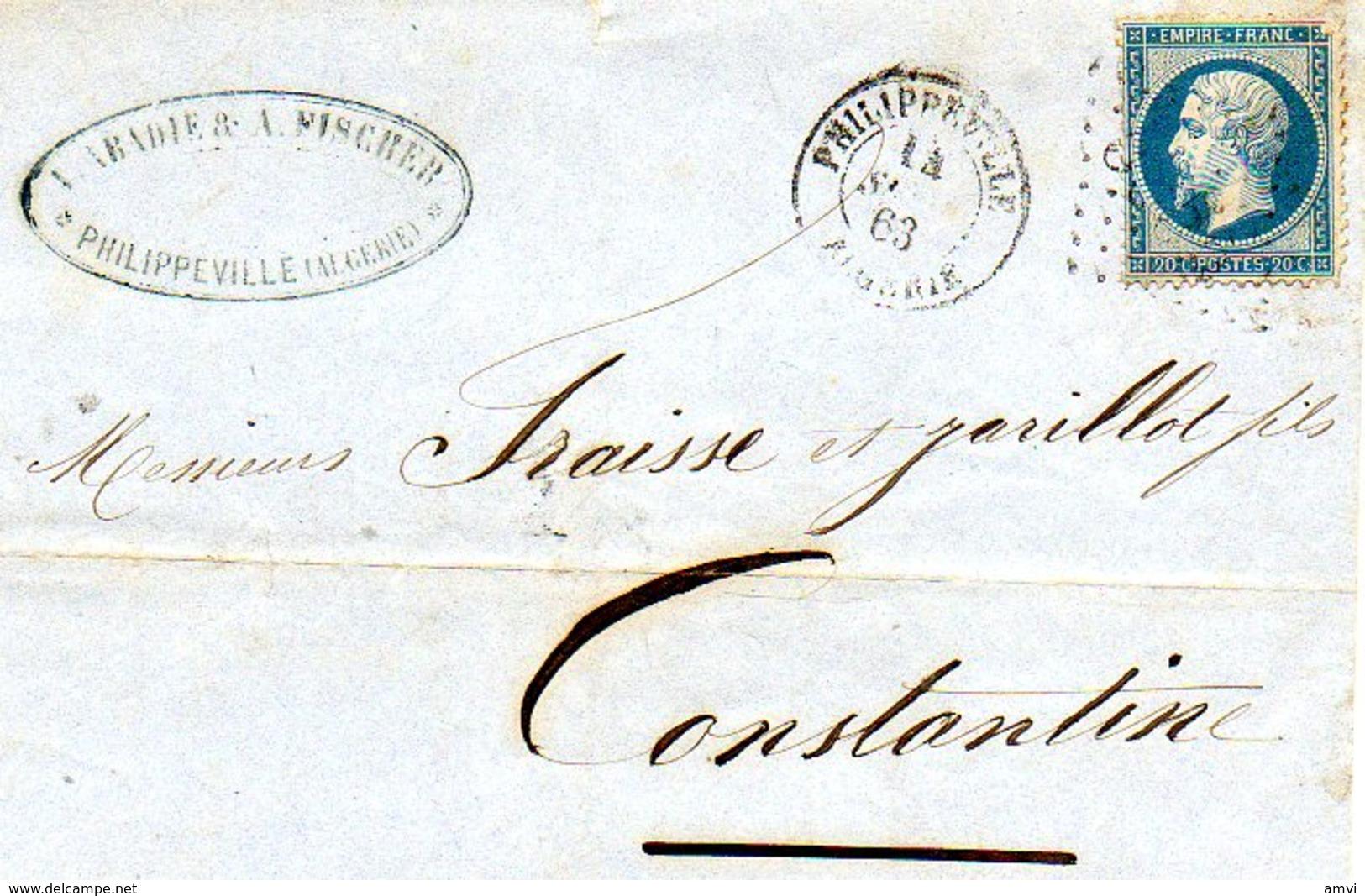 3916 - LAC 1863  - Cachet Philippeville - Cachet Abadie Et Fisher Algerie - Marcophilie (Lettres)