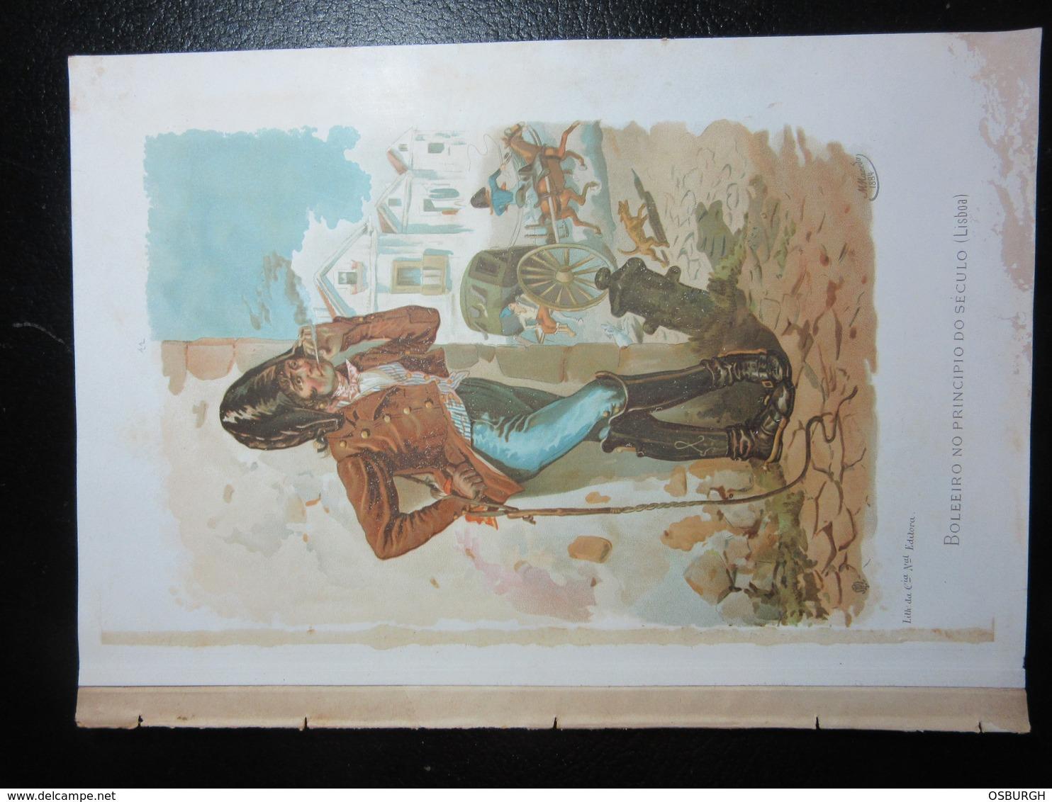 PORTUGAL. COLOUR PRINT. LOCAL COSTUMES. M MACEDO. BOLEEIRO NO PRINCIPIO DO SECULO. REMOVED FROM A BOOK - Prints & Engravings