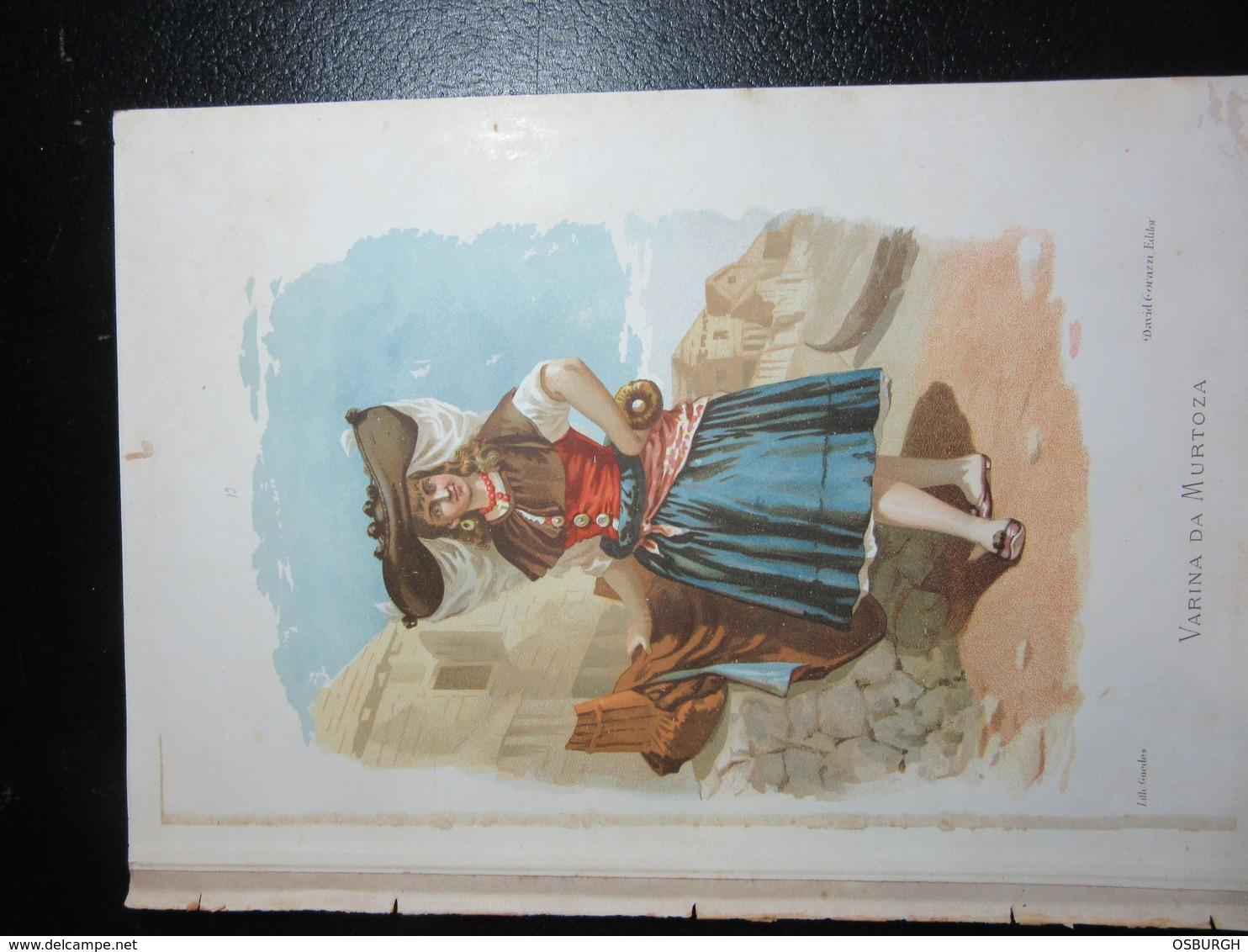 PORTUGAL. COLOUR PRINT. LOCAL COSTUMES. VARINA DA MURTOZA. TORN FROM A BOOK - Prints & Engravings