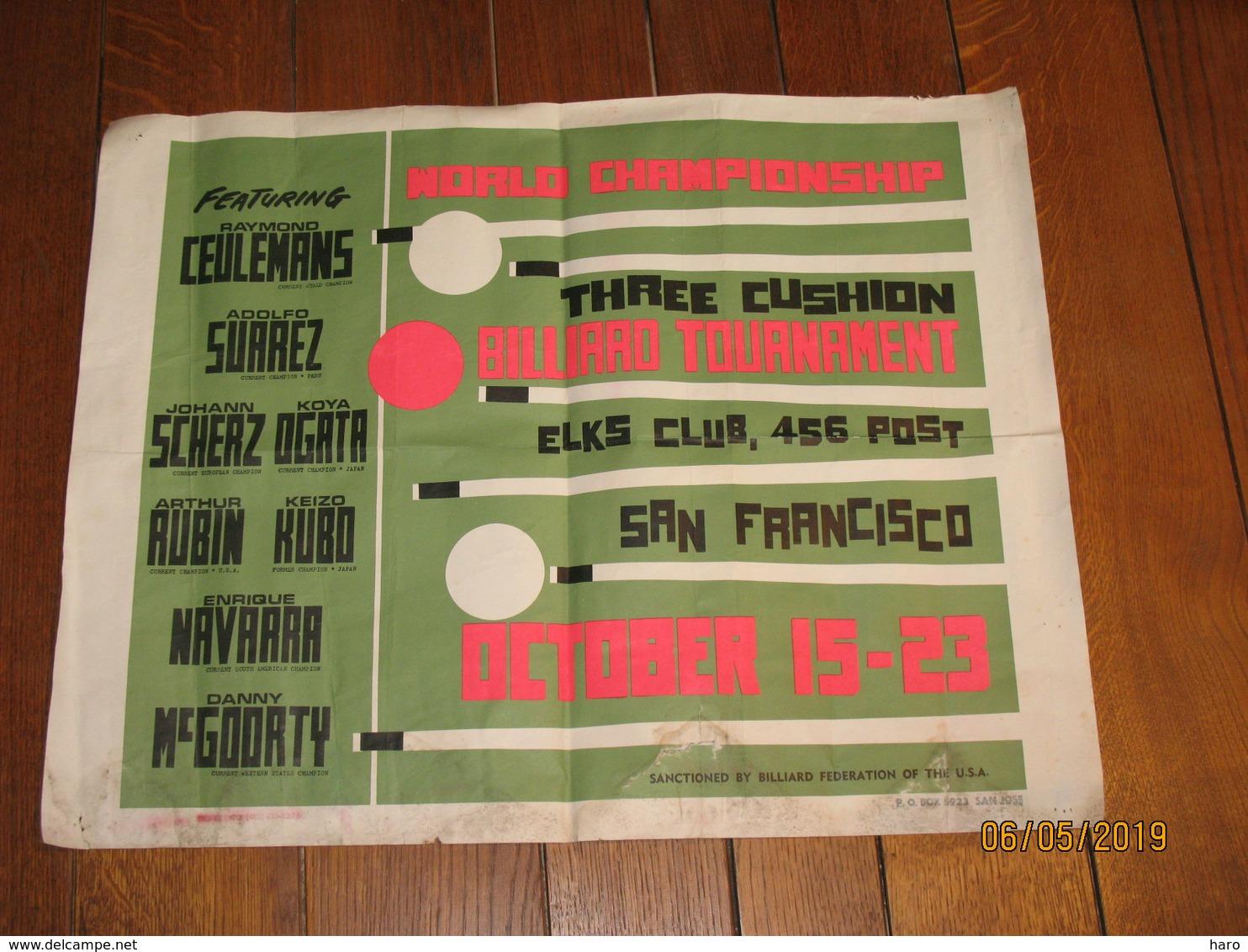 Affiche - Tournoi De Billard  Aux Etats-Unis - USA - SAN FRANCISCO 197...?(jm) - Posters