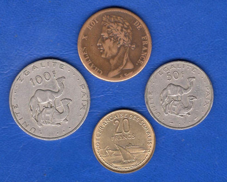Colonie  Guyanne 5 Cents  1828 A  +  3  Pieces  Djibouti - Colonie