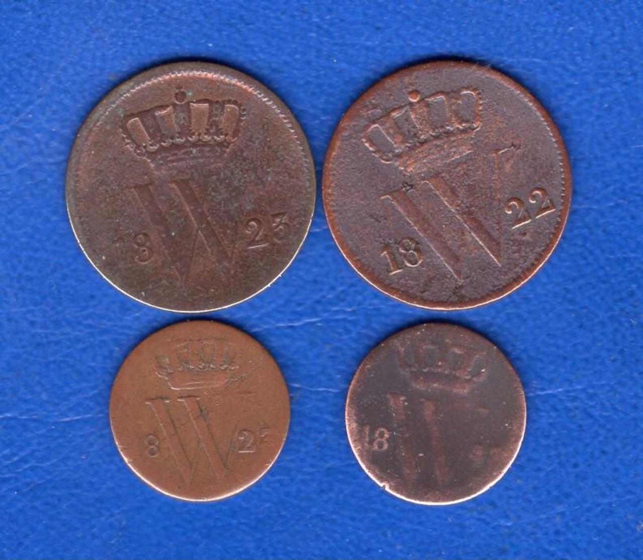 Pays  Bas  1/2  Cent   1823 B   +  3  Pieces - [ 3] 1815-… : Royaume Des Pays-Bas