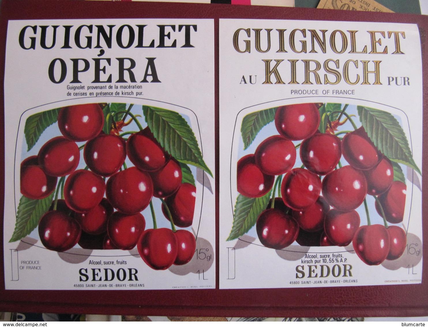 2 Etiquettes - GUIGNOLET OPERA - GUIGNOLET KIRSCH - SEDOR - ST JEAN DE BRAYE - Etiquettes
