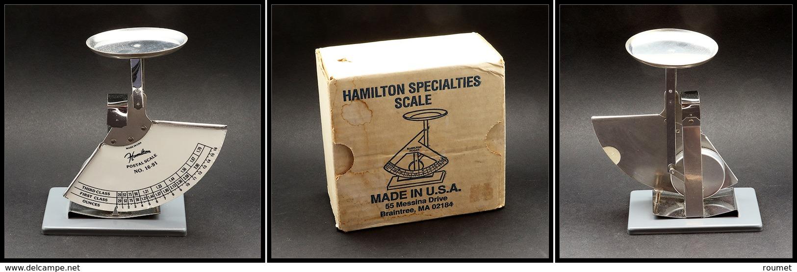 """Pèse Lettres. Modèle Moderne à Contrepoids Pendulaire En Acier, Marqué Hamilton """"Postal Scale N°16-91"""", échelle 0/16oz,  - Boites A Timbres"""