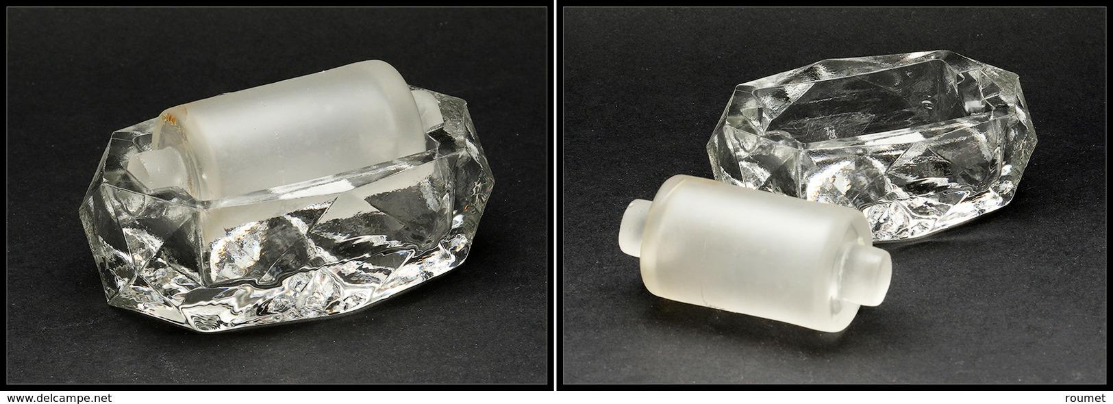 Mouille Timbres En Cristal Biseauté, Rouleau Sablé, 80x55x25mm. - TB - Boites A Timbres