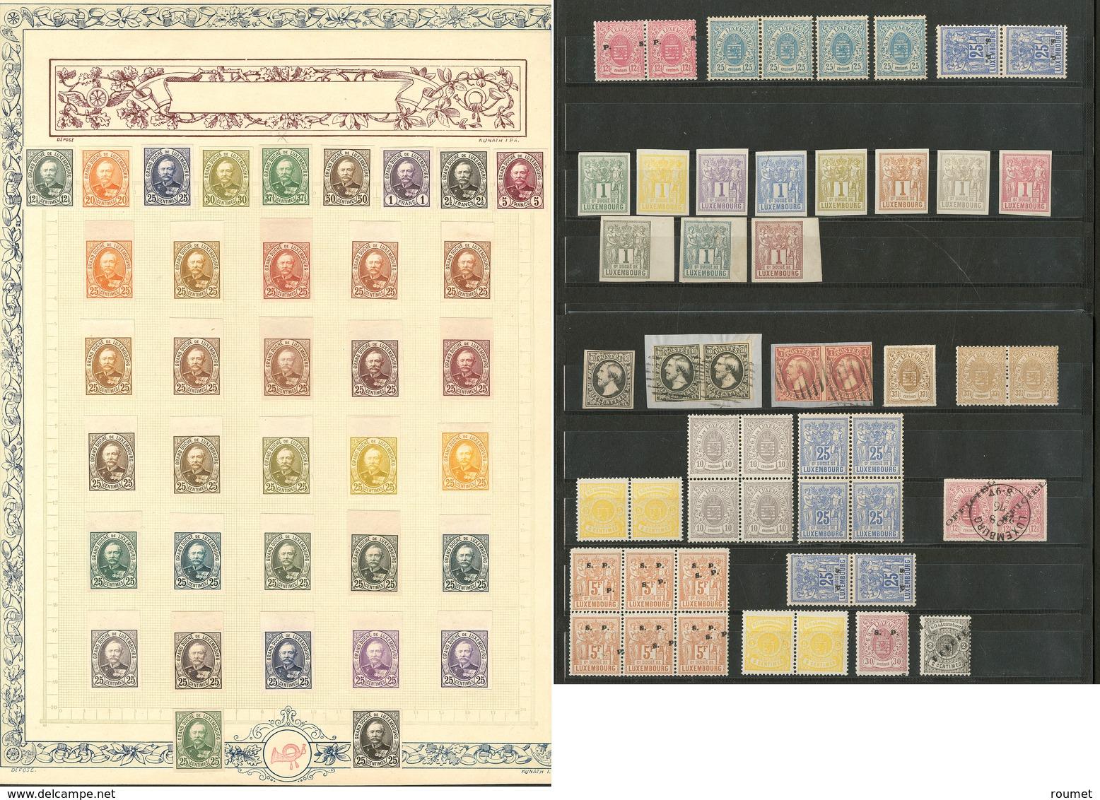 (*) LUXEMBOURG. Lot. 1852-1915 (Poste), Essais, ND, Specimen, Etc., Qqs Blocs De Quatre Et 6 Ex Obl. - TB, B Ou Pd - Luxembourg