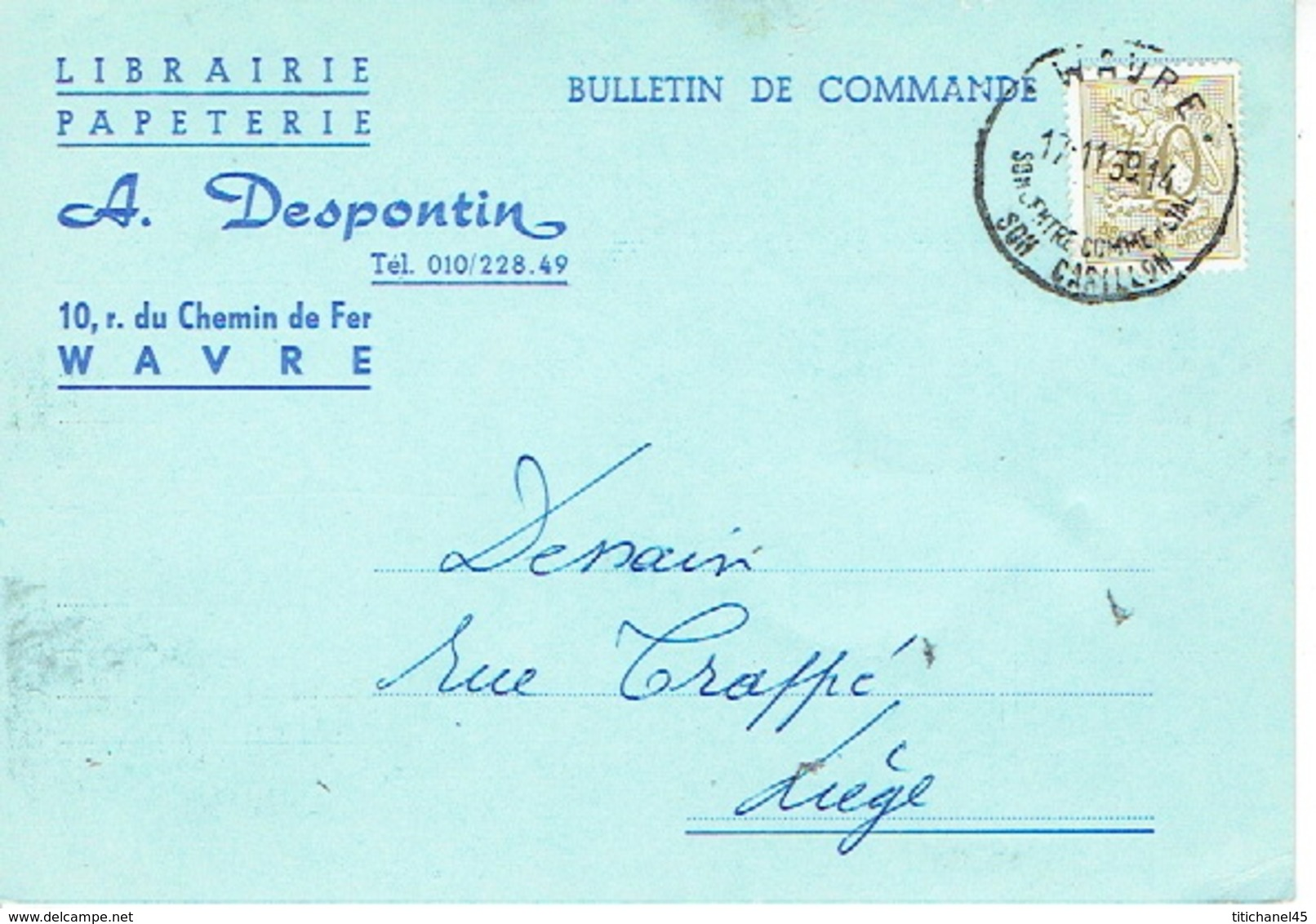 CP  Publicitaire WAVRE 1959 - A. DESPONTIN - Librairie - Papeterie - Wavre