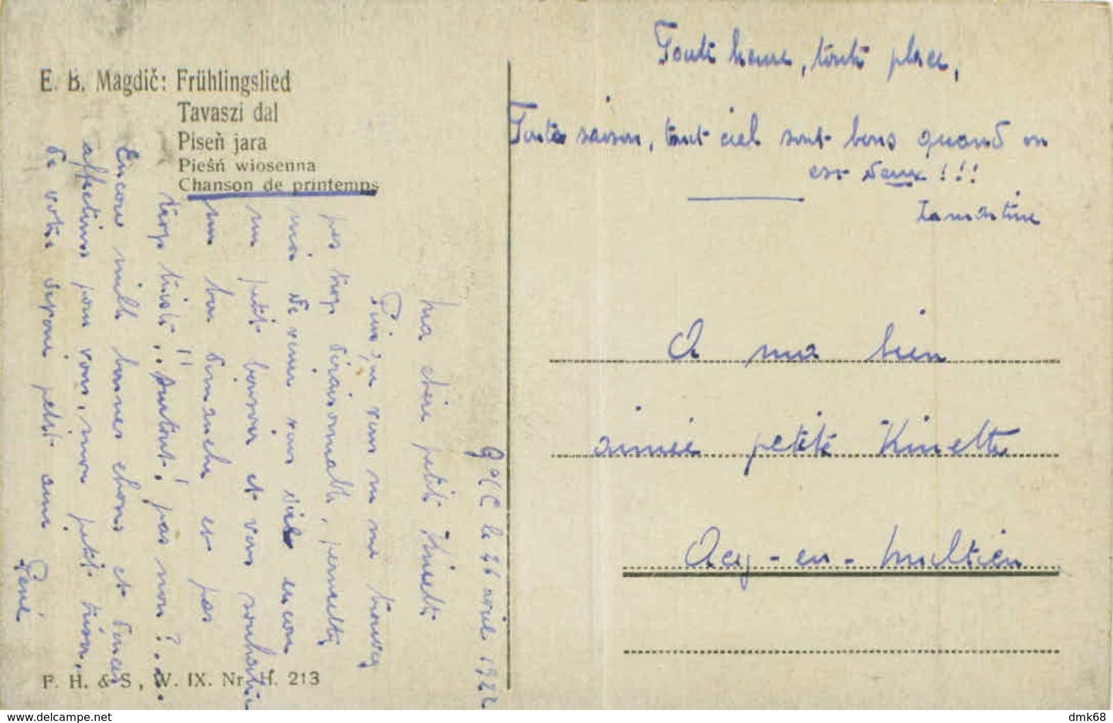 E.B. MAGDIC SIGNED 1910s POSTCARD - CHANSON DE PRINTEMPS - F.H.& S. W. IX - Nr. 213 (BG312) - Illustrateurs & Photographes