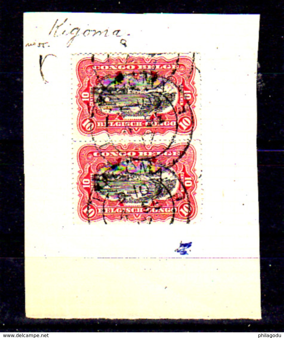 1910  Congo Belge, Mols Et Van Engelen, 55 En Paire Oblitération Kigoma - Congo Belge