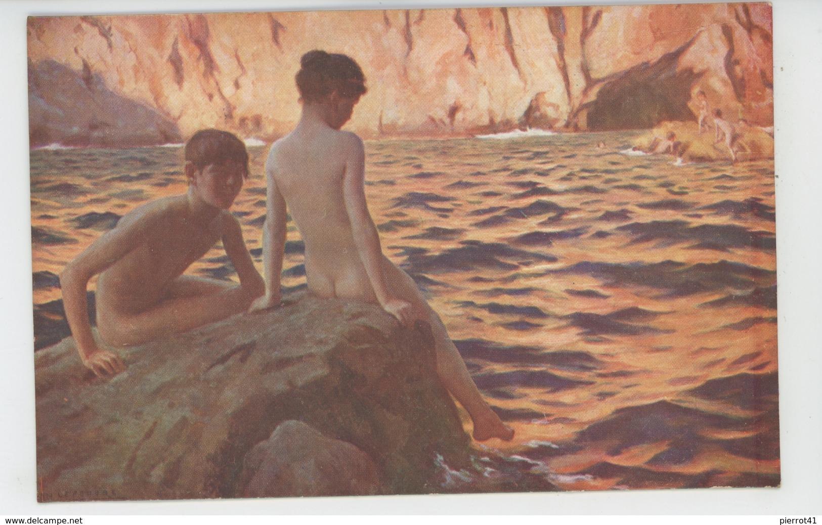 """Nus - ENFANTS - TABLEAUX - SALONS DE PARIS - """"A Capri """" - Par JEAN LEFEUVRE (naked Children ) - Tableaux"""