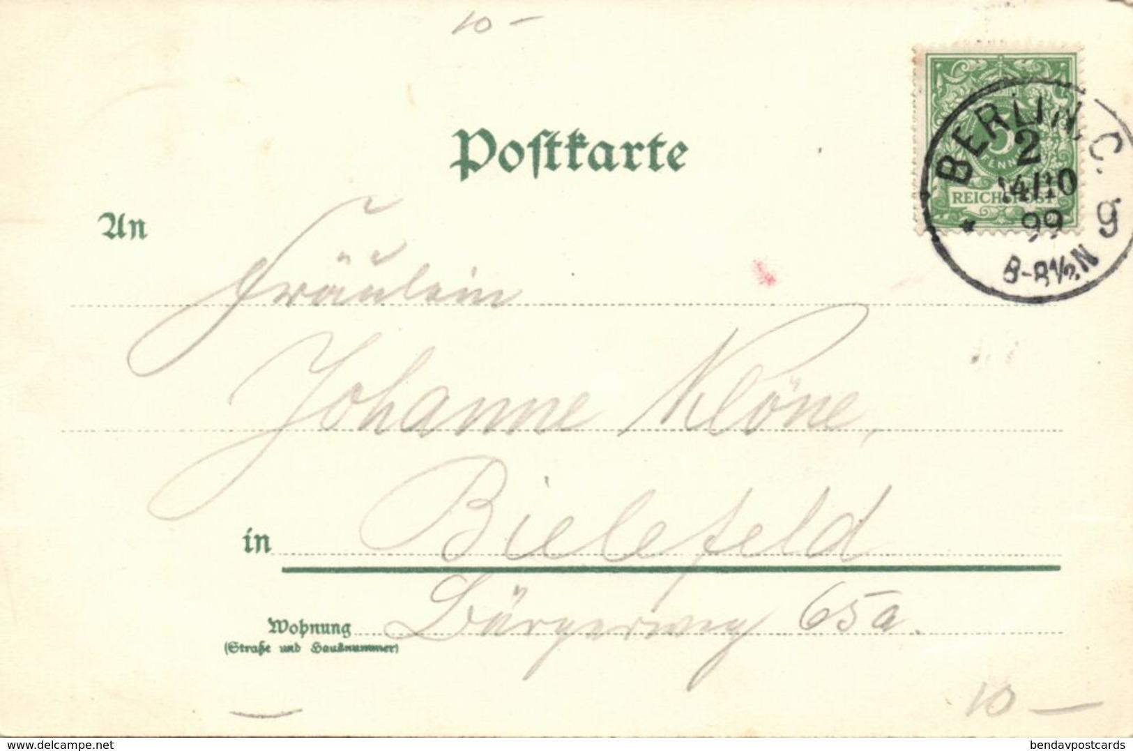 BERLIN, Siegesallee Mit Denkmälern Und Siegessäule (1899) Litho-AK - Germany