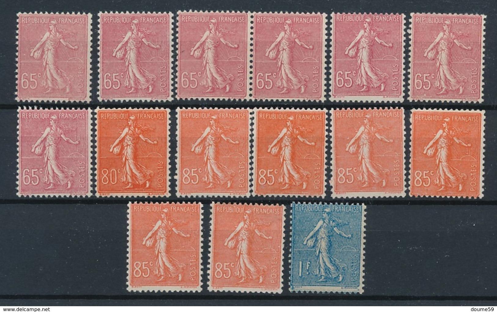CP-421: FRANCE: Lot De Timbres Neufs ** N°201(7)-203-204(6)-205 - 1903-60 Sower - Ligned