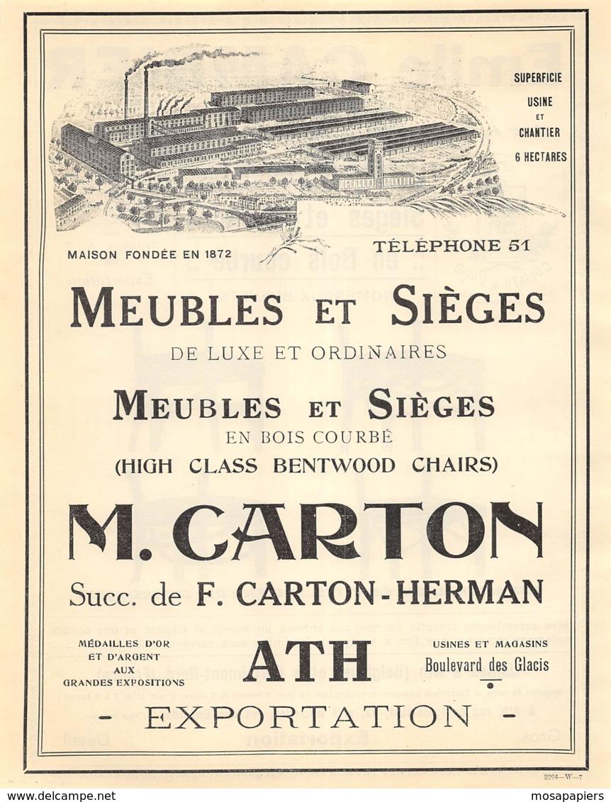 1928 - ATH - Boulevard Des Glacis - Meubles Et Sièges - M. CARTON - Grd Format Dim. A4 - Reclame