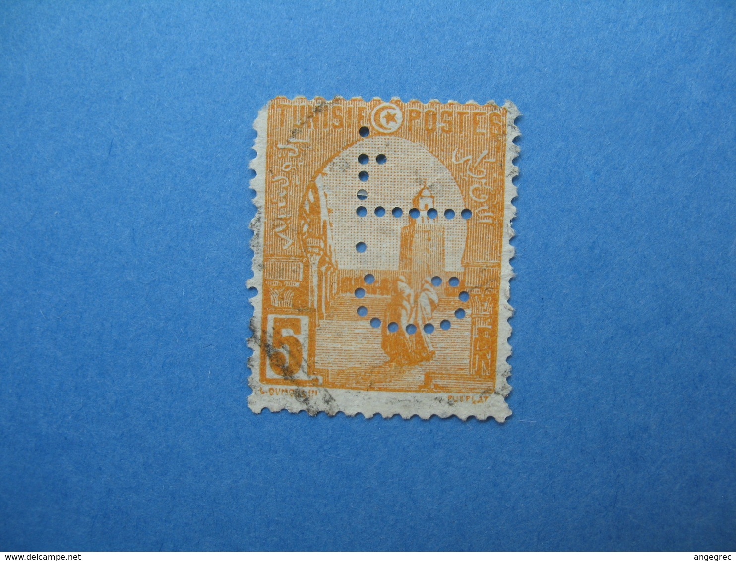 Perforé  Perfin   Tunisie ,   Perforation :   CL 7    à Voir - Tunisie (1888-1955)