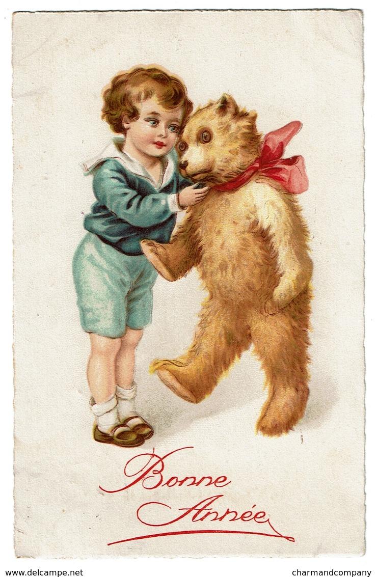 Carte Illustrateur Circulée En 1935 - Enfant Avec Ours En Peluche / Teddy Bear  - Bonne Année - 2 Scans - Jeux Et Jouets