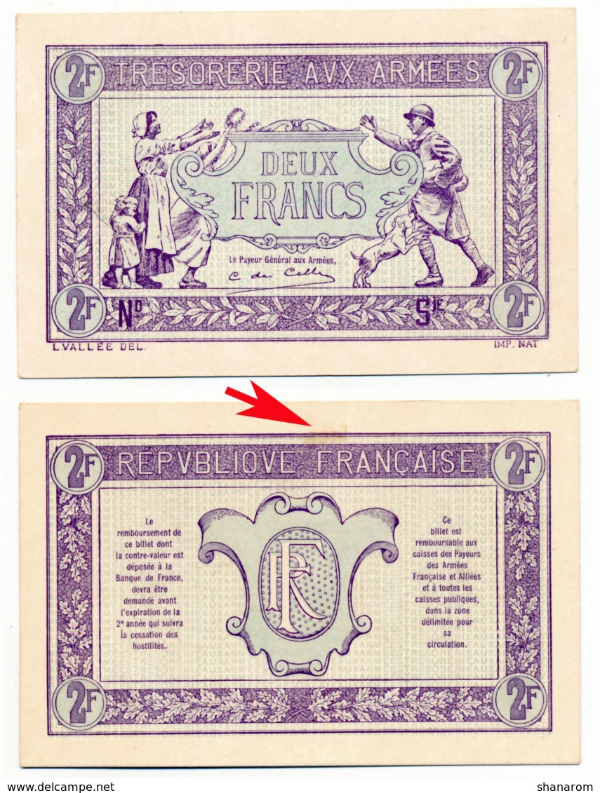 1917 // TRESORERIE AUX ARMEE // Deux Francs // EPREUVE - 1917-1919 Trésorerie Aux Armées