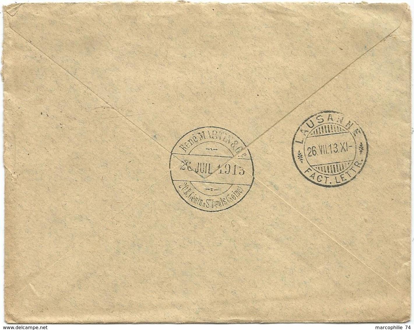 SEMEUSE 25C DAGUIN ST DENIS 1913 LETTRE ENTETE  RENE MARTIN EMAUX TUBES EN VERRE EN CRISTAL POUR SUISSE - Postmark Collection (Covers)