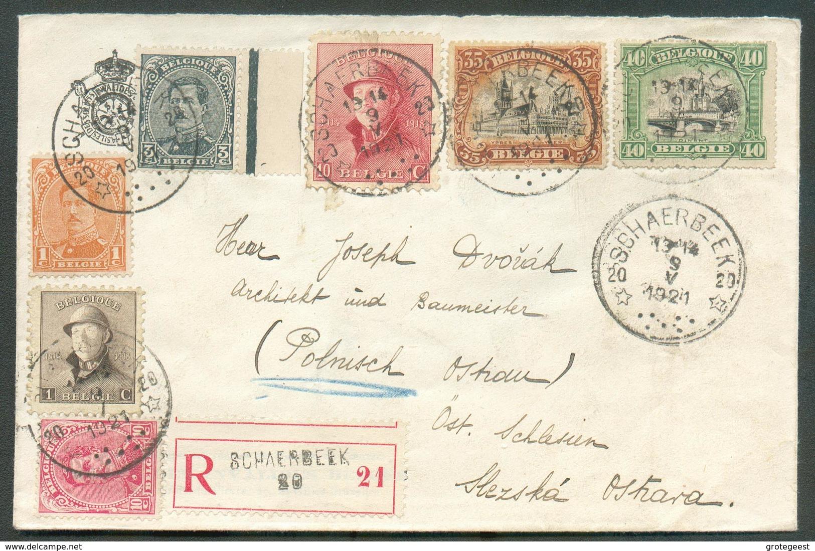 N°135-138-142-143-165-168-183 - Affr. Combiné Em. 1915/ROIS CASQUES à 1Fr. (port Exact) Obl. Sc Agence De SCHAERBEEK 20 - Storia Postale