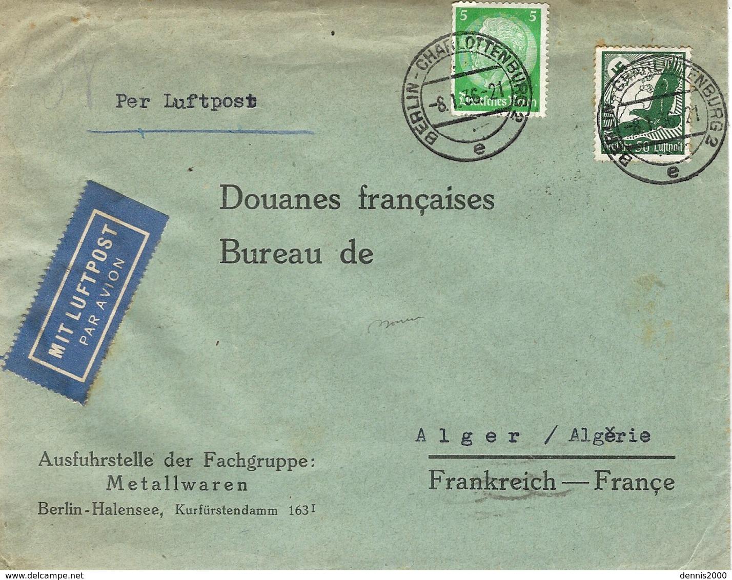 "1936 - Cover "" Per Luftpost "" From BERLIN To ALGER ( French Algeria) Fr. 55 Pf - Deutschland"