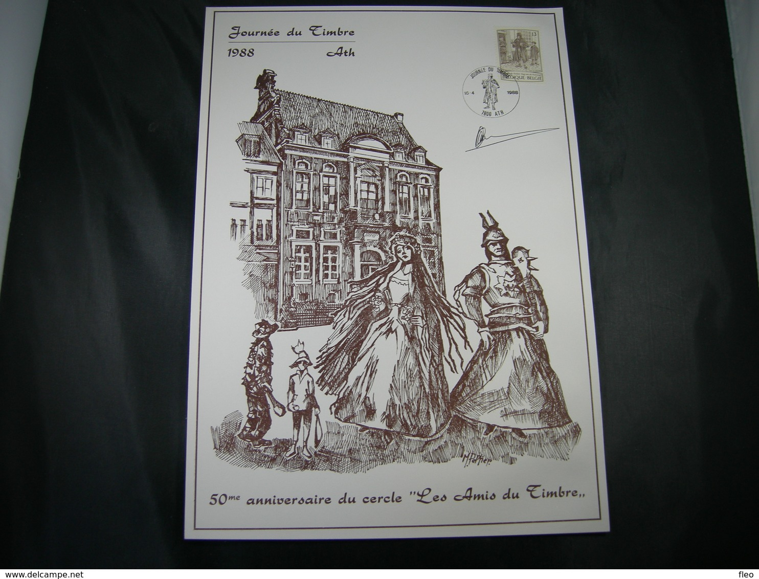"BELG.1988 2279 FDC Philacard  (Ath) : Dag Van De Postzegel /Journée Du Timbre ""avec Signature Designer Paul Huybrechts"" - 1981-90"