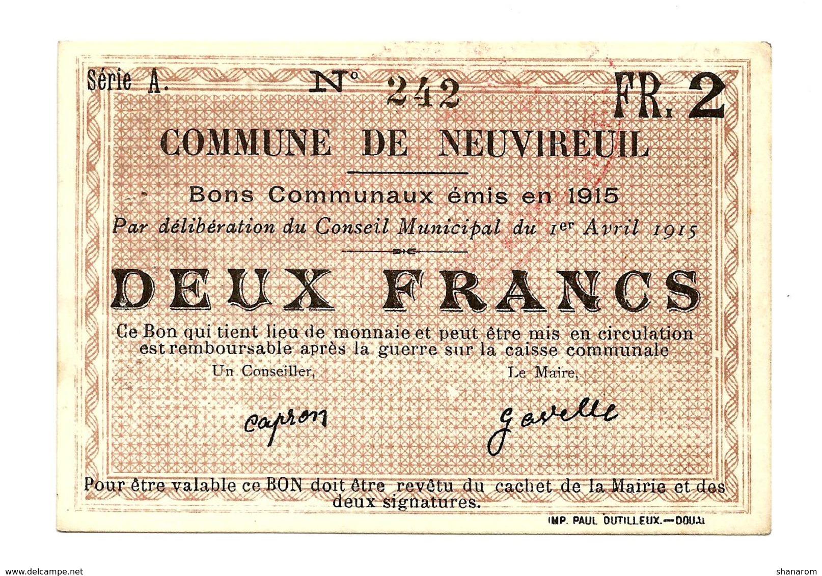 1914 - 1918 // PAS DE CALAIS // Commune De NEUVIREUIL // Avril 1915 // Bon De Deux Francs - Bons & Nécessité