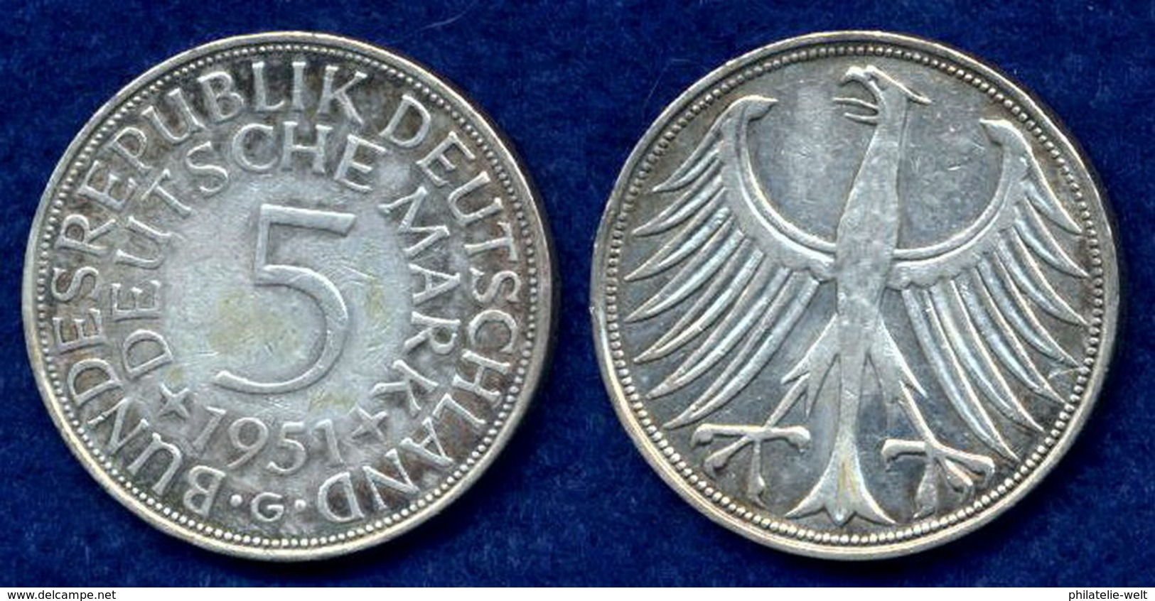 BRD 5 DM 1951G Bundesadler Ag625 - [ 7] 1949-…: BRD