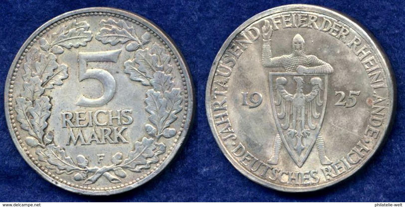 Deutsches Reich 5 Mark 1925F Ritter Mit Schild Ag500 - [ 3] 1918-1933 : Weimar Republic