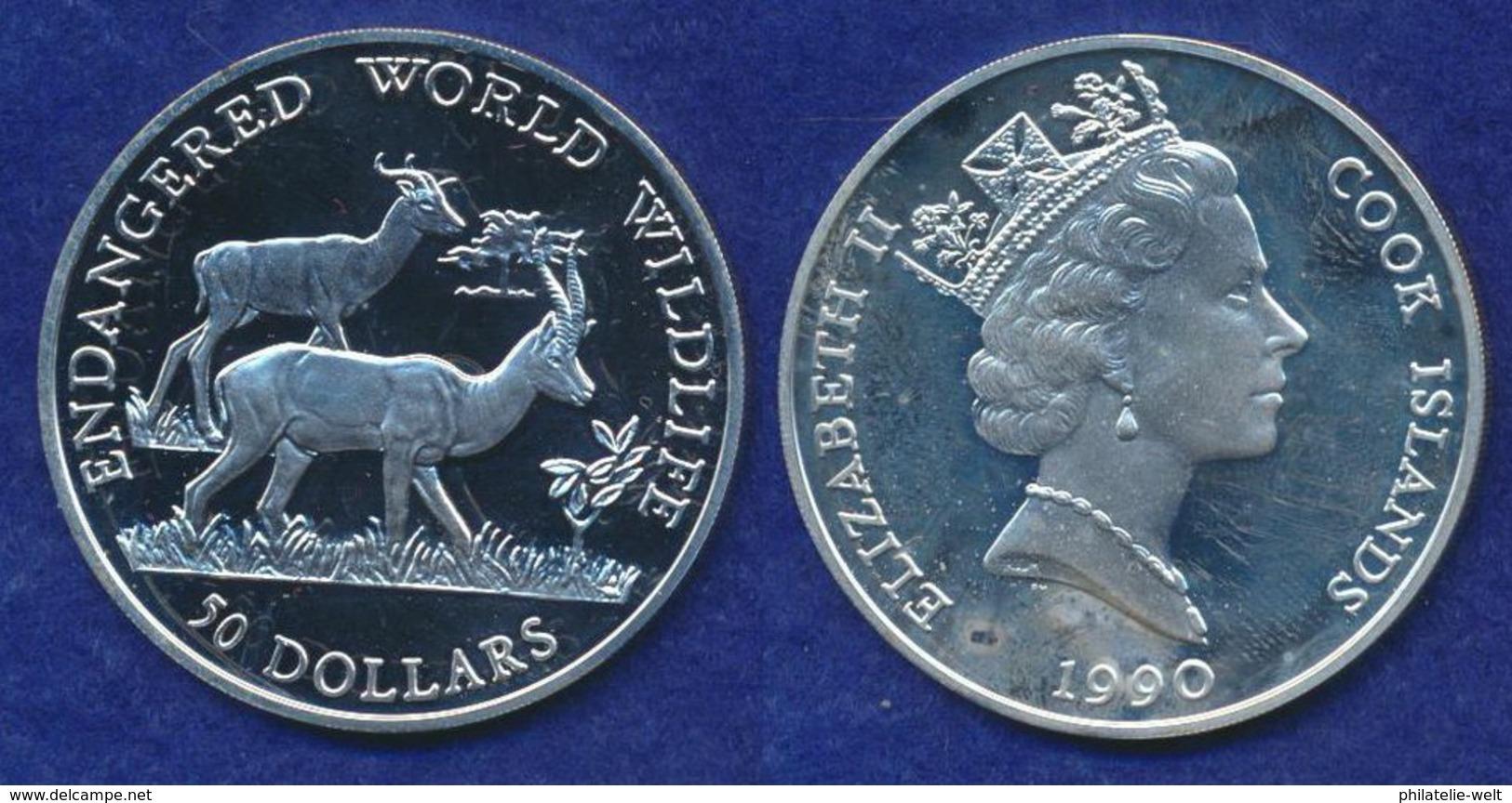 Cook Islands 50 Dollar 1990 Dama-Gazelle Ag925 19,2g - Cookinseln