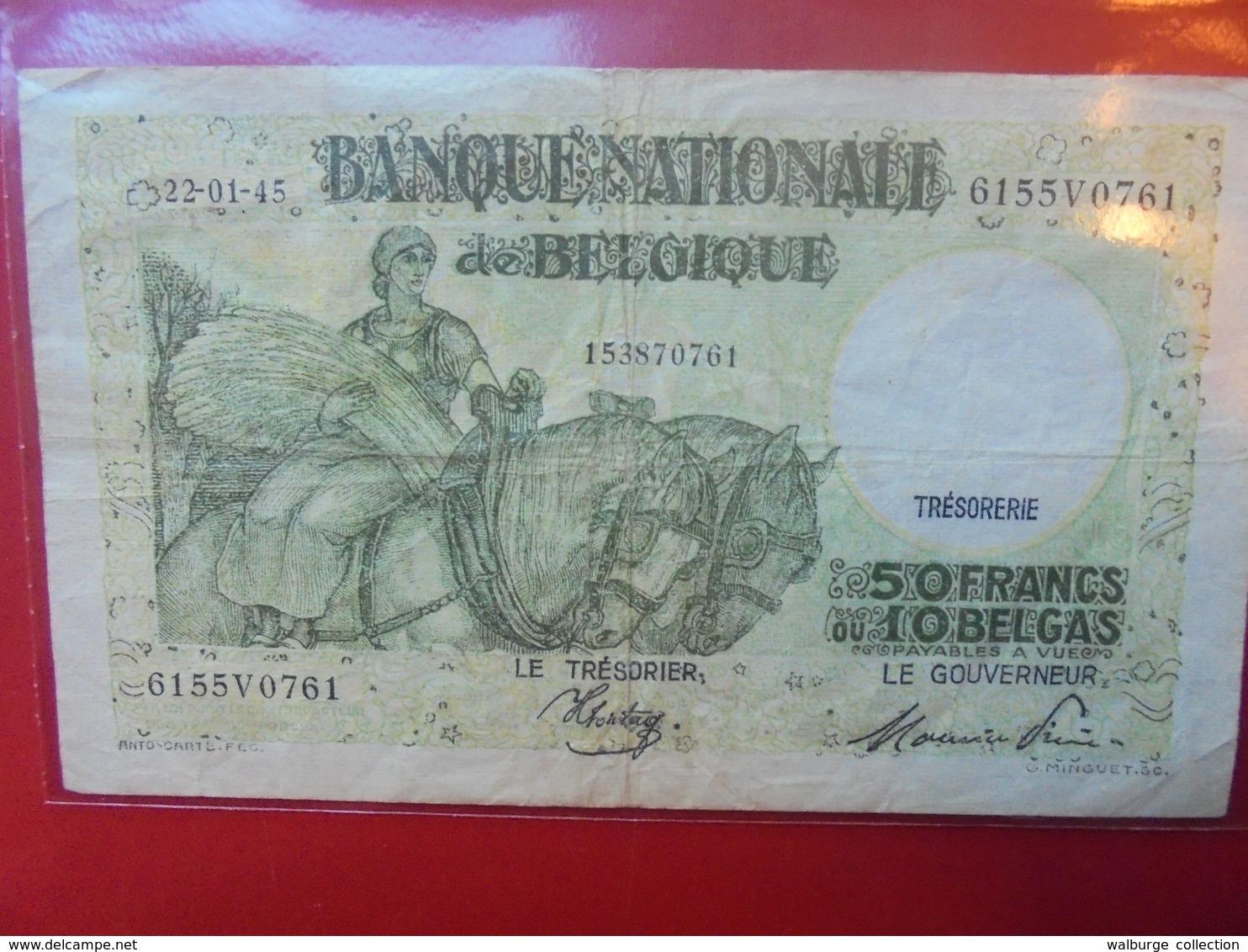 BELGIQUE 50 FRANCS 1945 CIRCULER - [ 6] Trésorerie