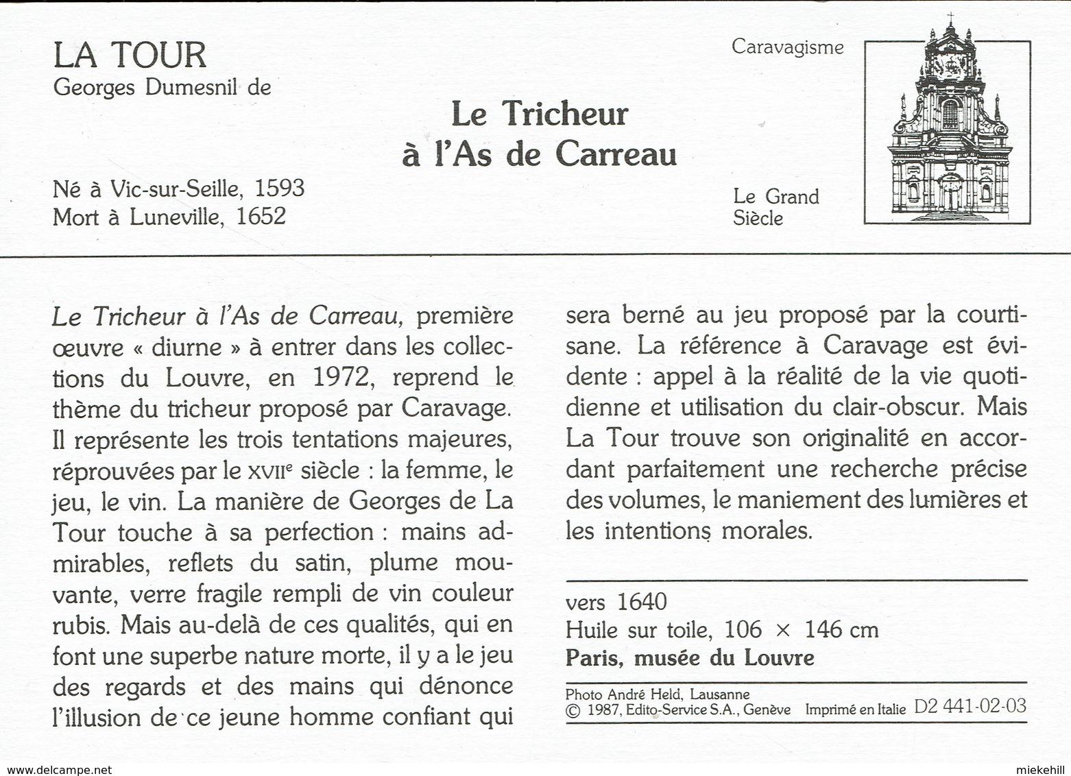 JEUX DE CARTE-TRICHEUR  A L'AS-VALSSPELER MET RUITENAAS-TABLEAU DE GEORGES LA TOUR-PARIS MUSEE DU LOUVRE - Cartes à Jouer
