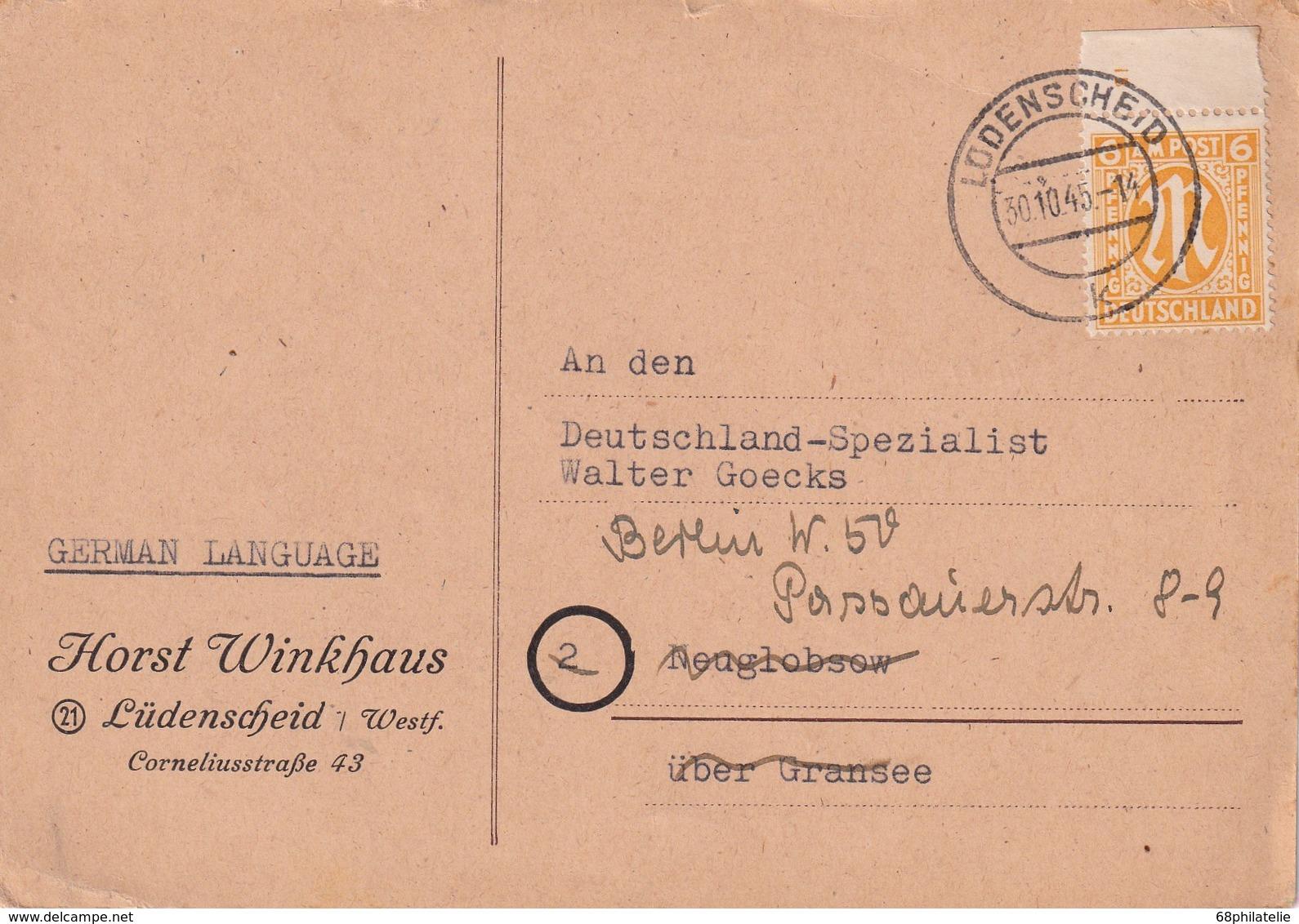 ALLEMAGNE ZONE ANGLO-AMERICAINE 1945 CARTE DE LÜDENSCHEID - Bizone