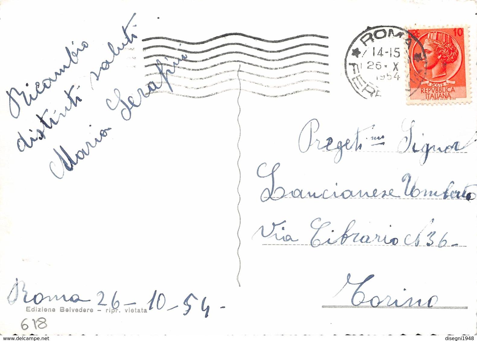 """M08082 """"ROMA-LARGO BRITANNIA""""ANIMATA-AUTO ANNI '40-CART. ORIG. SPED.1954 - Piazze"""