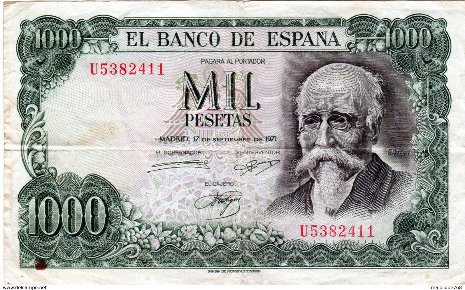 Billet De 1000 Pesetas - Espagne En T B - Le 17 Septembre 1971 - - 1000 Pesetas