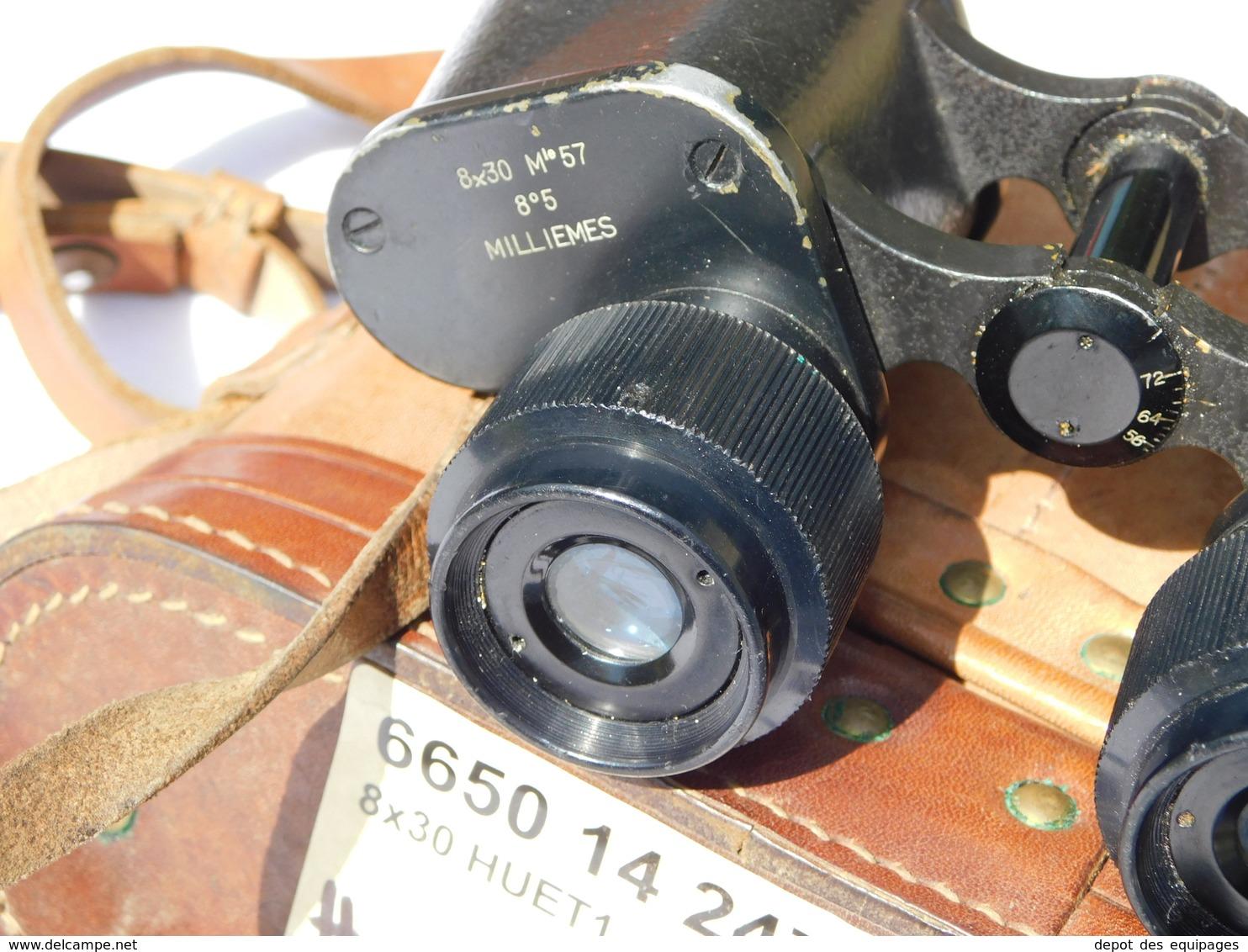 RARES JUMELLES HUET 8 X 30 MARINE FRANCAISE Modéle 1957 + ETUI CUIR Au Même Numéro #.250 - Optique