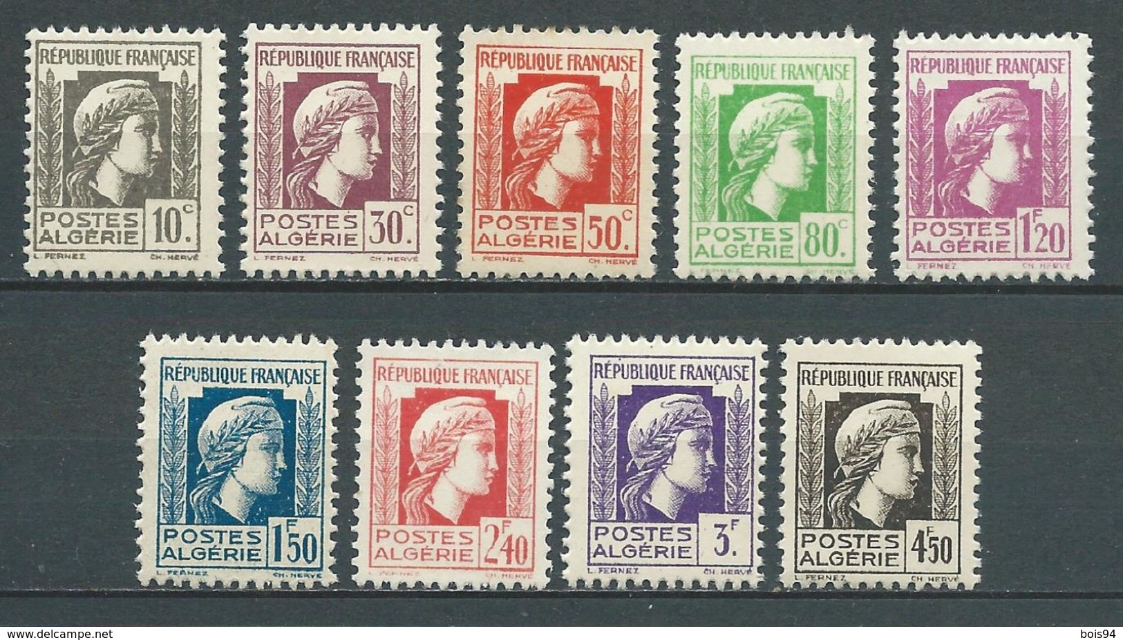 ALGERIE 1944 . Série N°s 209 à 217 . Neufs ** (MNH) - Algérie (1924-1962)