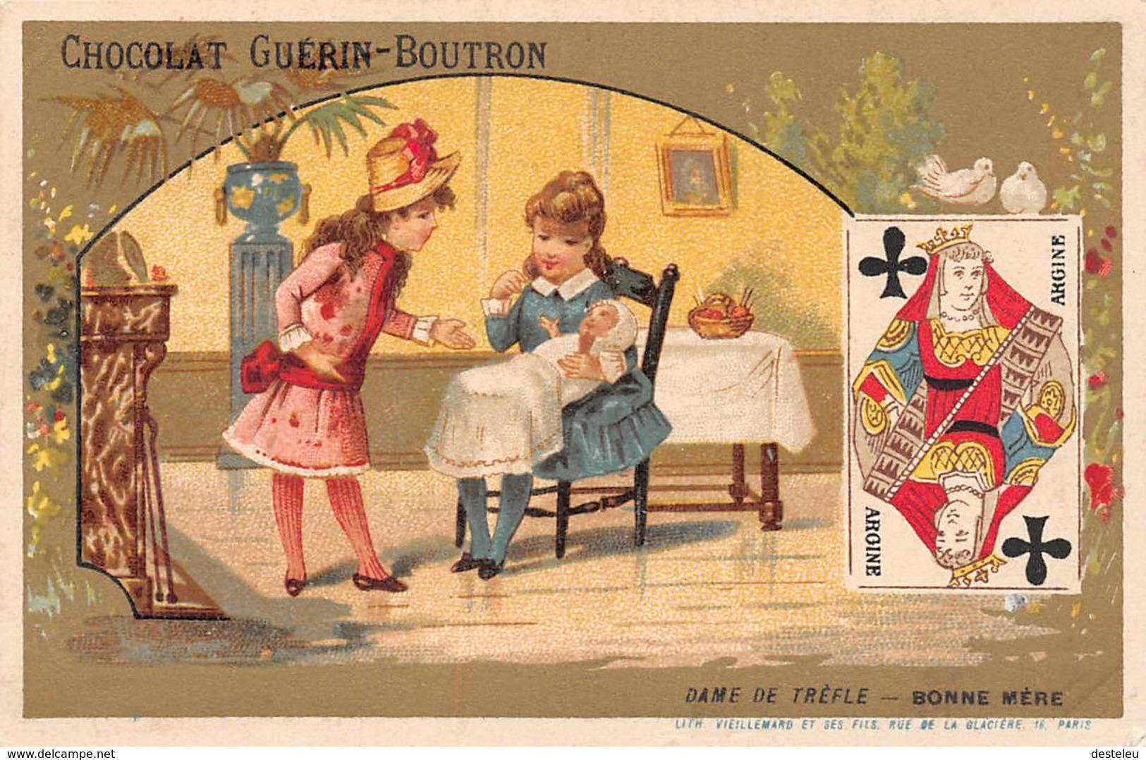 Playing Cards  Chocolat Guerin Boutron -Dame De Tréfle Bonne Mère - Jeux Et Jouets