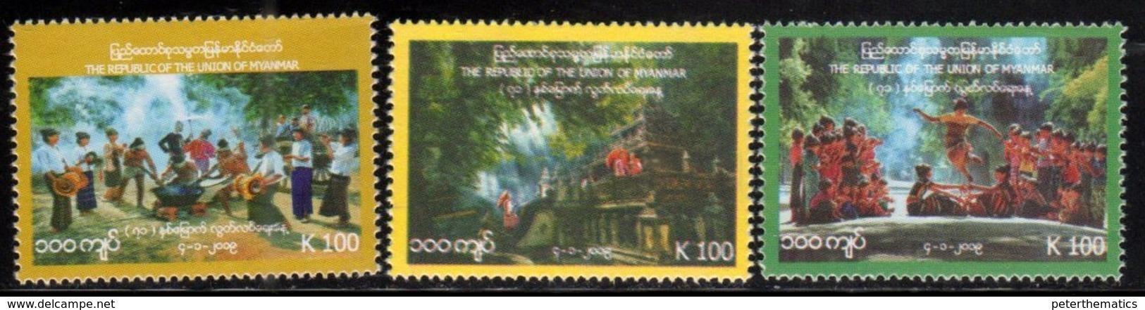 MYANMAR, 2018, MNH, INDEPENDENCE DAY, TEMPLES, DANCES, FESTIVALS, 3v - Celebrations