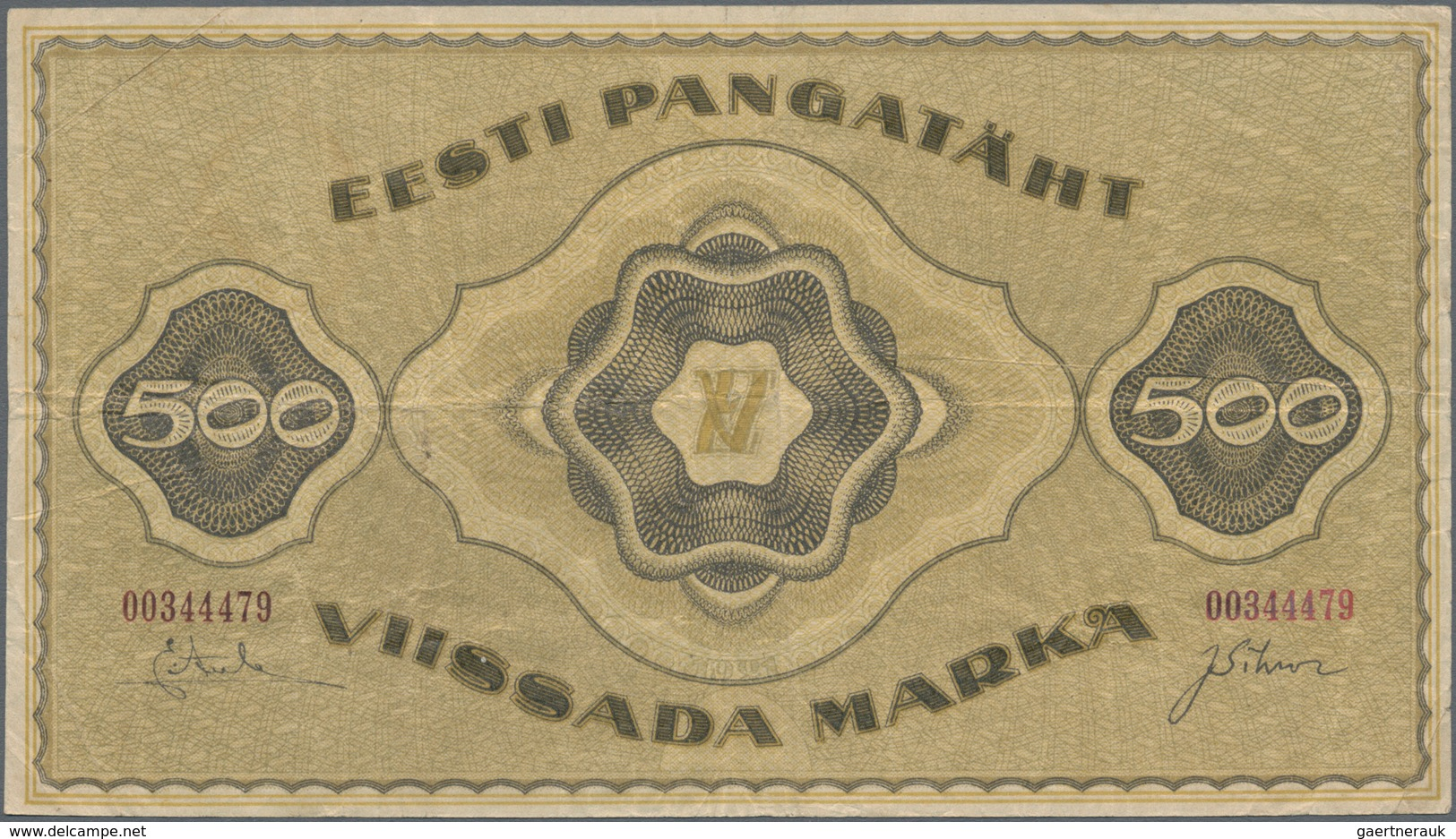 Estonia / Estland: Eesti Pangatäht 500 Marka 1921, P.57a, Great Condition Without Larger Damages Wit - Estonia