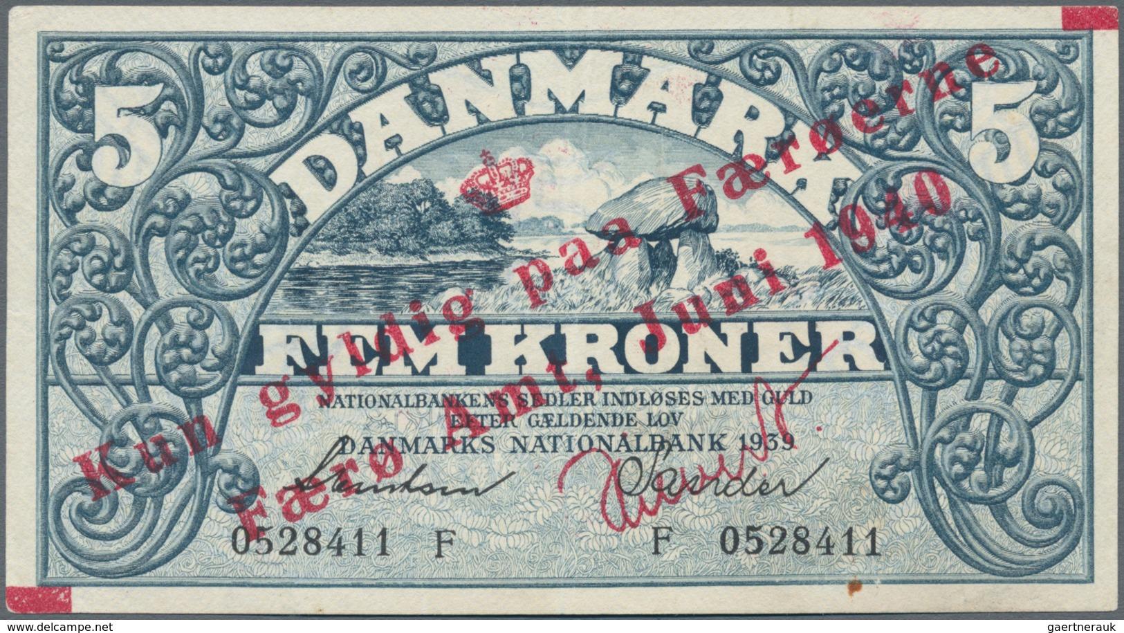 Faeroe Islands / Färöer: 1 Kroner 1940 Overprint On Denmark #30c, P.1b, Vertical Center Fold And Tin - Faroe Islands
