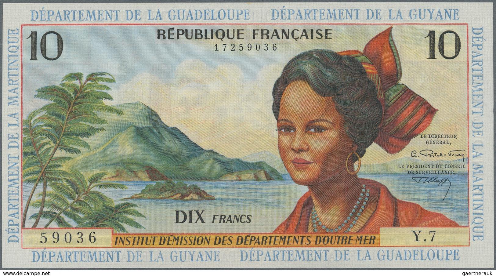 French Antilles / Französische Antillen: Institut D'Émission Des Départements D'Outre-Mer 10 Francs - Banknotes