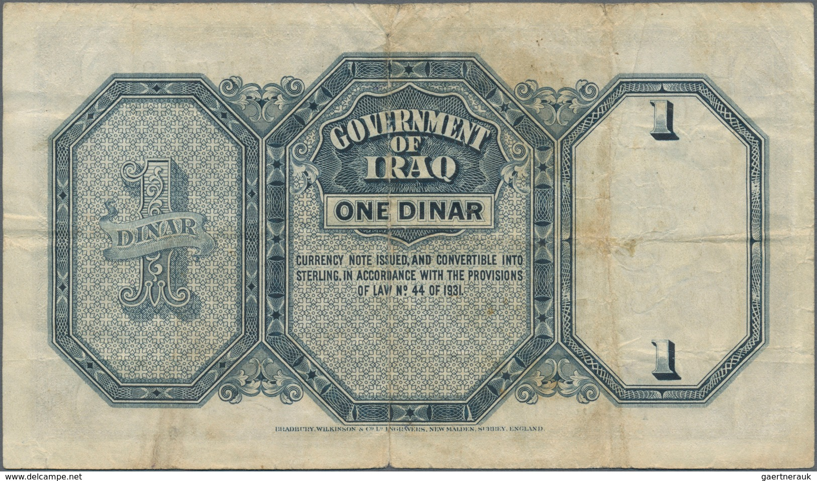 Iraq / Irak: 1 Dinar 1942 P. 18, Used With Folds And Creases, Stronger Center Fold, Stain On Back, N - Iraq