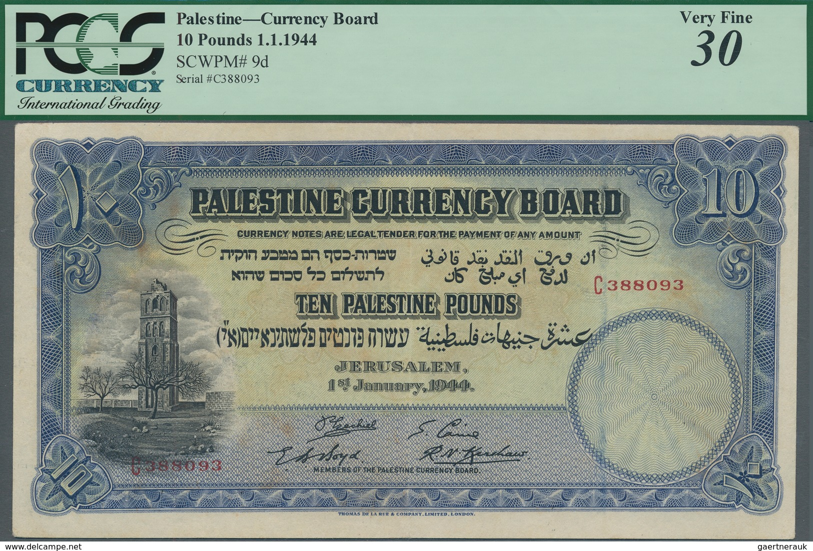 Palestine / Palästina: Palestine Currency Board 10 Pounds January 1st 1944, P.9d, Great Original Sha - Banknotes