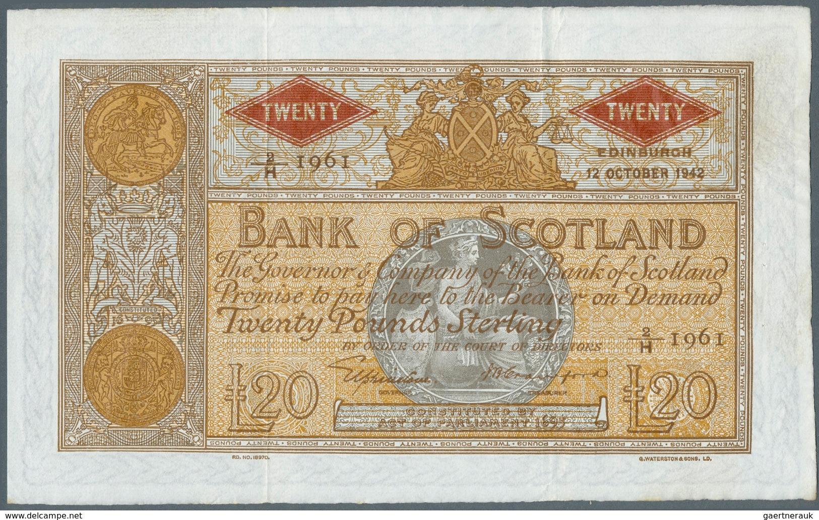 Scotland / Schottland: 20 Pounds 1942 P. 94c, Bank Of Scotland, 2 Vertical And One Horizontal Fold, - [ 3] Scotland