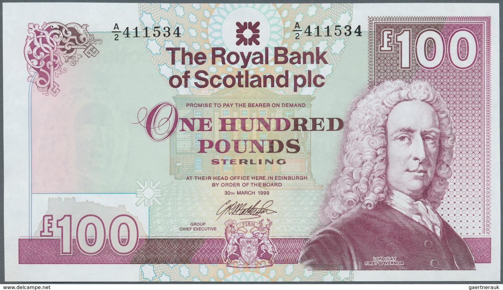 Scotland / Schottland: The Royal Bank Of Scotland PLC 100 Pounds 1999 P. 350, With Only One Corner F - [ 3] Scotland