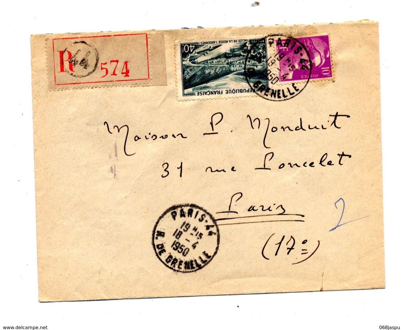 Lettre Recommandee Paris 44 Sur Gandon Meuse - Marcophilie (Lettres)