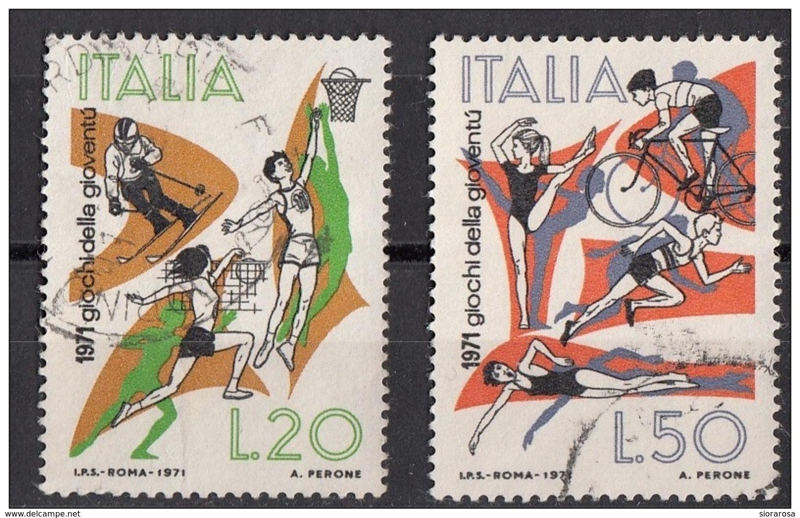 1251 Italia 1971  Giochi Della Gioventù Viaggiato Full Set - Francobolli