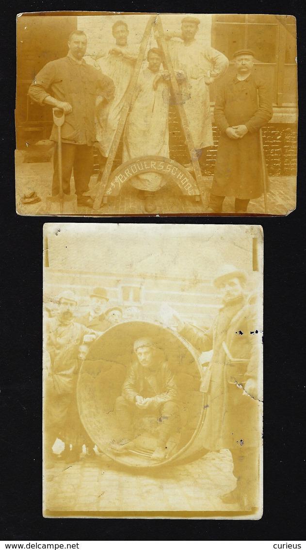 BROUWERSSCHOOL * 2 OUDE FOTO'S * ARBEIDERS * TON * 11.5 X 8 CM - Gent